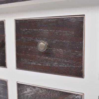 vidaXL Konsollbord 6 skuffer brun og hvit tre
