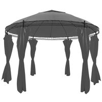 vidaXL Paviljong med gardiner rund 3,5x2,7 m antrasitt