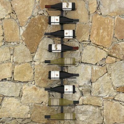 vidaXL Veggmontert vinstativ for 9 flasker svart jern