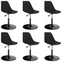 vidaXL Svingbare spisestoler 6 stk svart PP