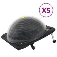 vidaXL Soldrevne bassengvarmere 5 stk 75x75x36 cm HDPE aluminium