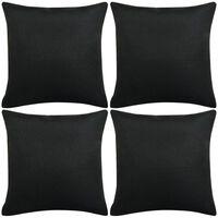 vidaXL Putetrekk 4 stk lin-aktig svart 40x40 cm