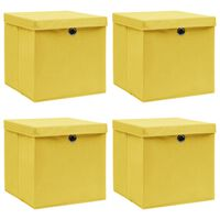 vidaXL Oppbevaringsbokser med lokk 4 stk gul 32x32x32 cm stoff