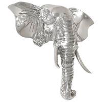 vidaXL Skulptur elefanthode massiv aluminium 38x19x36 cm sølv