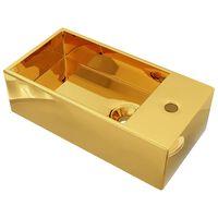 vidaXL Vask med overløpsfunksjon 49x25x15 cm keramikk gull