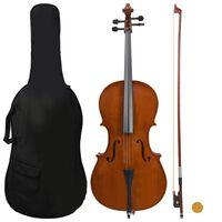 vidaXL Cellosett med veske og bue av naturlig hår mørk tre 4/4