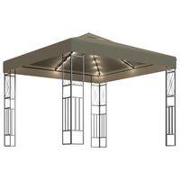 vidaXL Paviljong med lysslynge 3x3 m gråbrun stoff