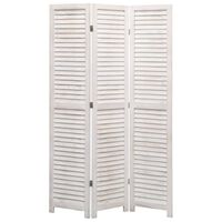vidaXL Romdeler 3 paneler hvit 105x165 cm tre
