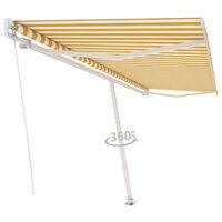 vidaXL Frittstående manuell uttrekkbar markise 500x350 cm gul/hvit