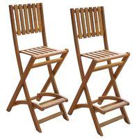 vidaXL Sammenleggbare barstoler 2 stk heltre akasie