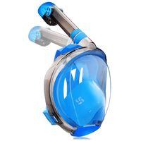 Full ansiktsmaske med snorkel og GoPro-feste - blå - S / M