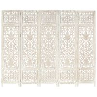 vidaXL Romdeler håndskåret 5 paneler hvit 200x165 cm heltre mango