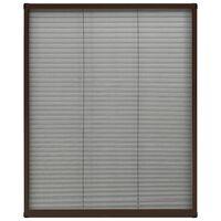 vidaXL Plissert insektskjerm for vindu aluminium brun 60x80 cm