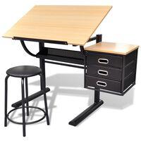 vidaXL Justerbart tegnebord med 3 skuffer og stol