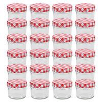 vidaXL Syltetøyglass med hvite og røde lokk 24 stk 110 ml