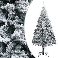 vidaXL Kunstig juletre med flokket snø grønn 240 cm PVC