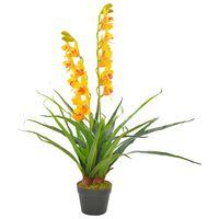 vidaXL Kunstig orkidè med potte gul 90 cm