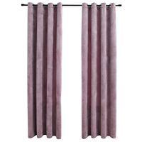 vidaXL Lystette gardiner med ringer 2 stk fløyel antikk rosa 140x175 cm