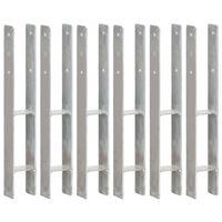 vidaXL Gjerdespyd 6 stk sølv 8x6x60 cm galvanisert stål