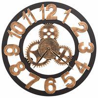 vidaXL Veggklokke metall 58 cm gylden og svart