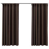 vidaXL Lystette gardiner kroker og lin-design 2 stk gråbrun 140x175 cm