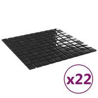 vidaXL Selvklebende mosaikkfliser 22 stk skinnende svart 30x30cm glass