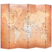 vidaXL Sammenleggbar romdeler 228x170 cm verdenskart gul