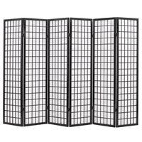 vidaXL Sammenleggbar romdeler 63 paneler japansk stil 240x170 cm svart