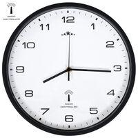 vidaXL Veggur med kvarts-urverk radiostyrt 31 cm hvit og svart