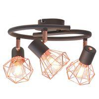 vidaXL Taklampe med 3 spotlys E14 svart og kobber