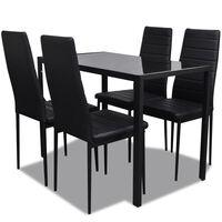Moderne spisestue sett med bord og 4 stoler svart