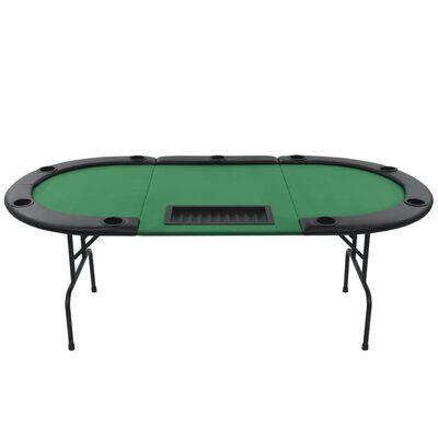vidaXL Pokerbord 9 spillere sammenleggbar 3-delt oval grønn