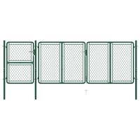 vidaXL Hageport stål 125x395 cm grønn