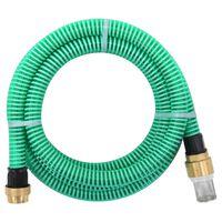 vidaXL Sugeslange med messingkontakter 15 m 25 mm grønn
