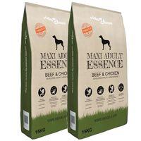 vidaXL Premium hundemat Maxi Adult Essence Beef&Chicken 2 stk 30 kg