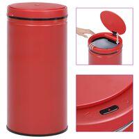 vidaXL Automatisk søppelbøtte med sensor 70 L karbonstål rød