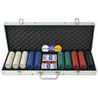 vidaXL Pokersett med 500 sjetonger aluminium